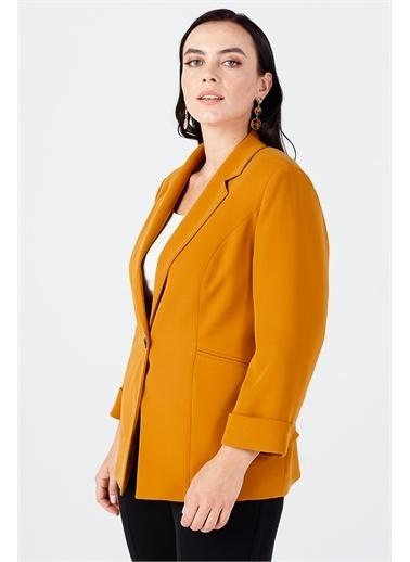 Ekol Ekol Kadın Duble Kol Çizgi Cep Ceket 06521  Hardal
